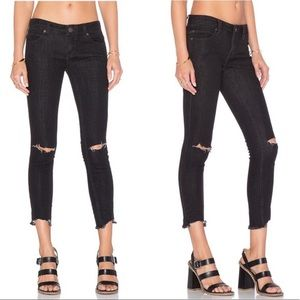 Free People Destroyed Ankle Skinny Raw Hem Jeans